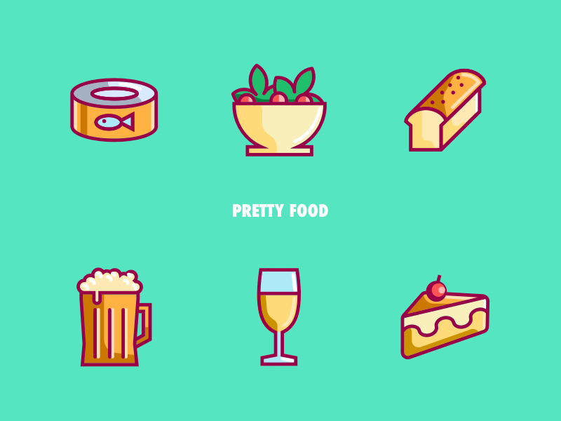 Pretty Food IIl food and drink illustration line iconography ui design icon food and beverage green glass beer tuna cake salad bread food pretty