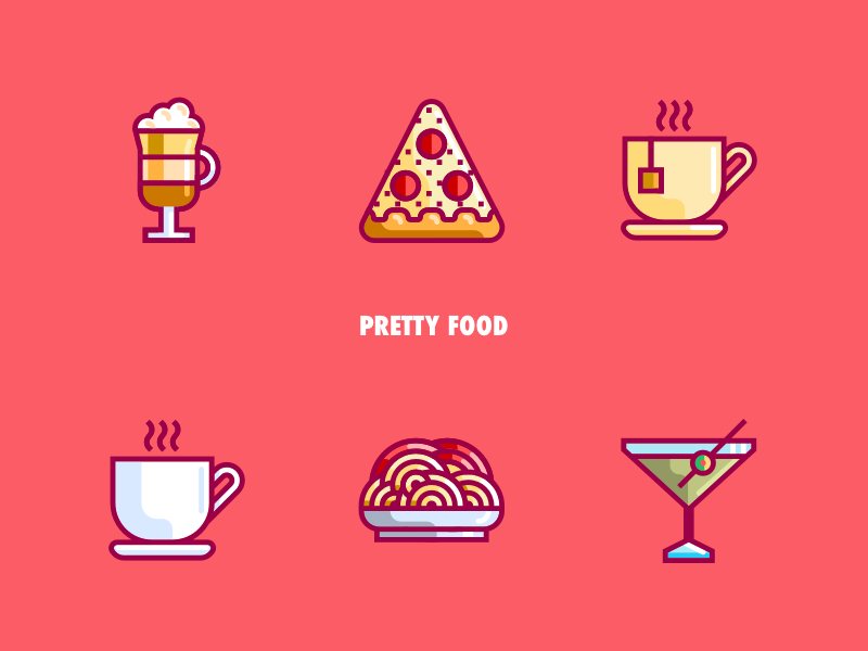 Pretty Food IV food and drink color restaurant design vector iconset iconography icon spaguetti pasta pizza martini capuccino coffee tea restaurant food pretty