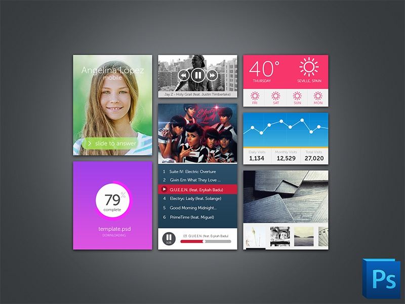 Ui Kit (PSD) icon ui free psd graphic player download kit interface flat freebie