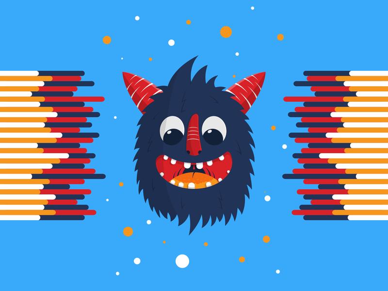 Happy happy blue red vector artwork illustration monster creature