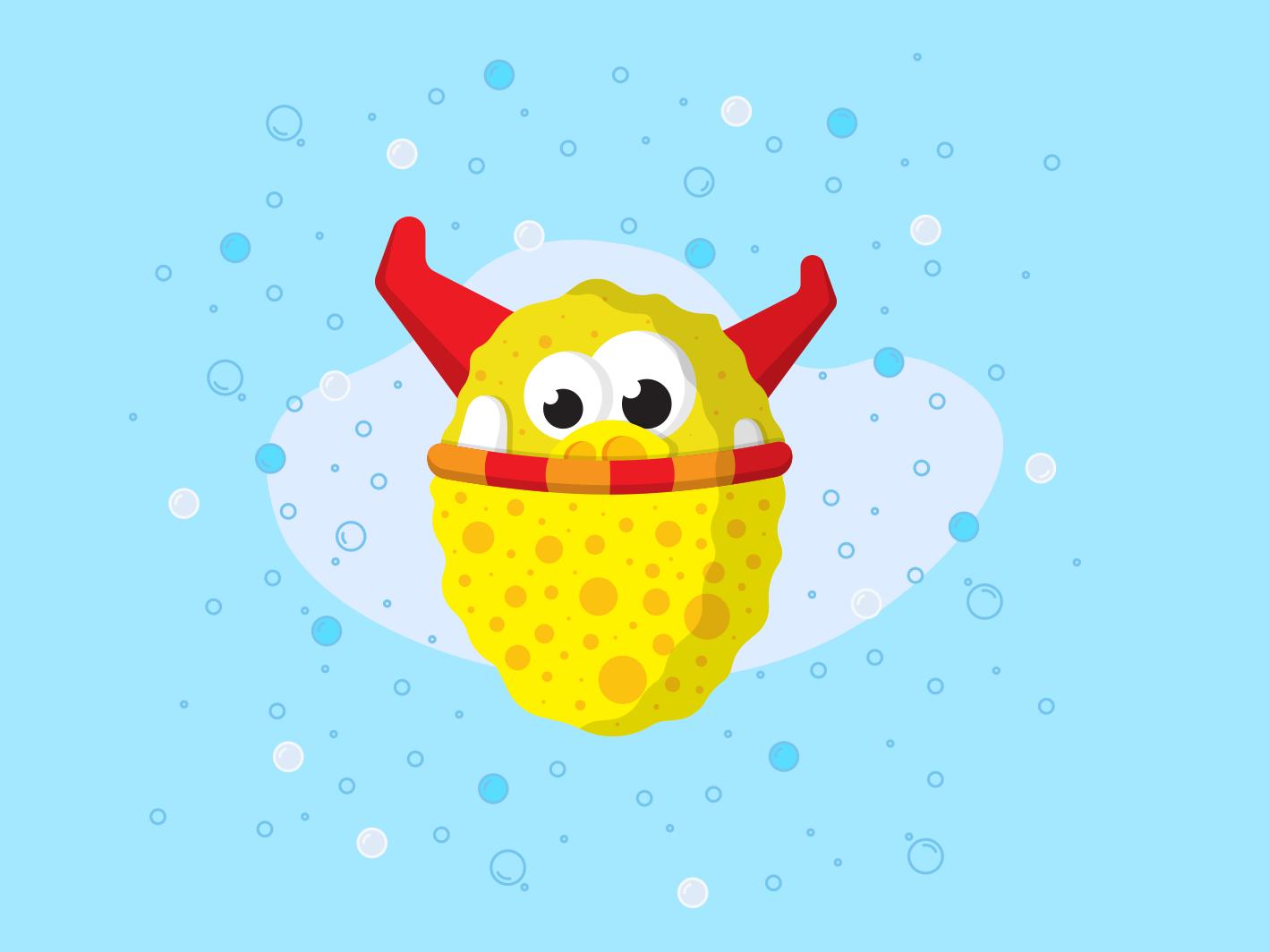 The Sponge monster clean sponge soap yellow red blue vector artwork monster illustration creature