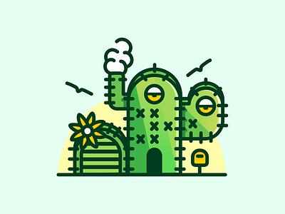 Still At Home 🌵 house illustration cactus