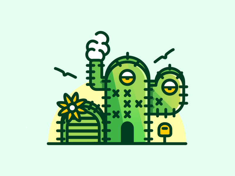 Still At Home 🌵 house illustration cactus