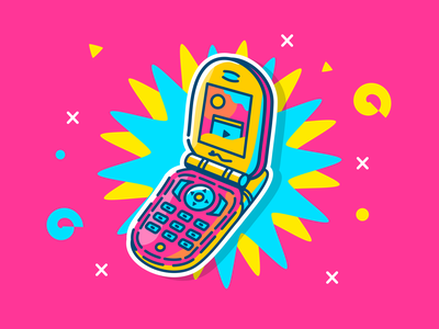 Flip cellphone 90s illustration fliphone flip cell