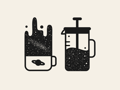 Cosmic Coffee minimal icon outline space illustration coffee