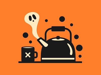 Creepy Kettle halloween orange simple design tea kettle creepy haunted ghost illustration