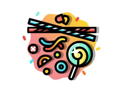 Junk licorice illustration gummy candy