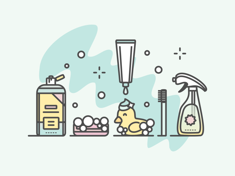 Clean illustration shampoo soap clean ducky