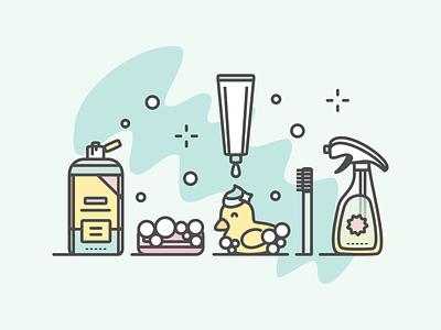 Clean illustration shampoo soap clean ducky