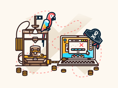 Printed Treasure 3d print printer 3dprinter parrot coins illustration pirate