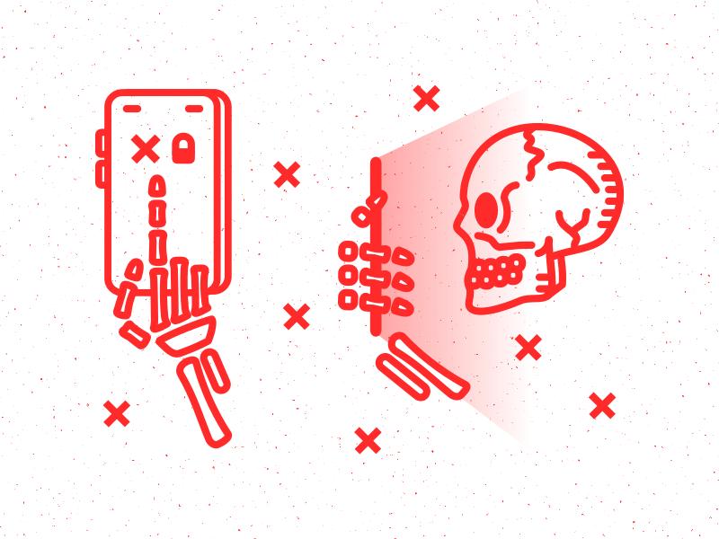 Biometric Error outline simple icons illustration skull fingerprint phone finger biometric skeleton