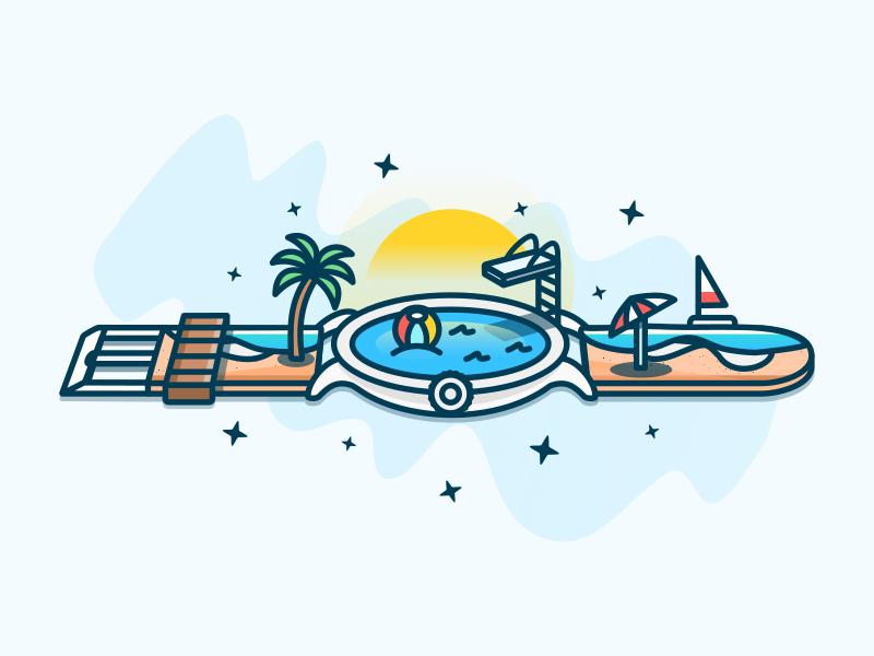 Summer Time ocean pool umbrella tree stars illustration seasons clock watch time sumer