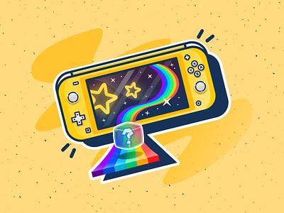 Rainbow Road gameboy mariobros yellow nintendo lite switch illustration