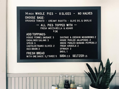 Now Open II interior charleston typography menu letterboard pizza