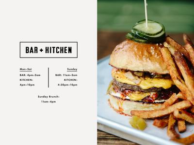 Bar + Kitchen food photography photography web design menu identity typography branding