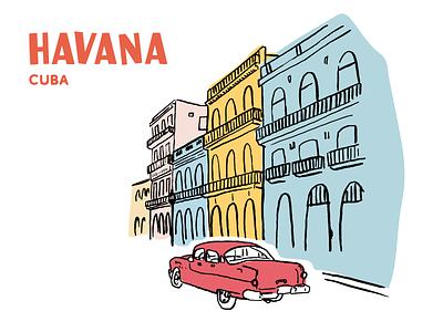 Havana travel architecture color cuba havana poster typography illustration