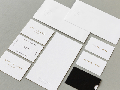 Studio Luxe business card notecard envelope emboss foil print stationery packaging identity typography logo branding