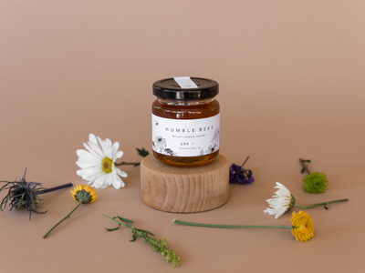 Humble Bees Packaging food photography illustration flowers bees label packaging honey typography logo branding