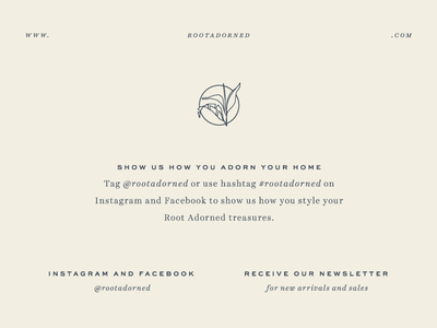 Adorn branding hashtag social media collateral typography