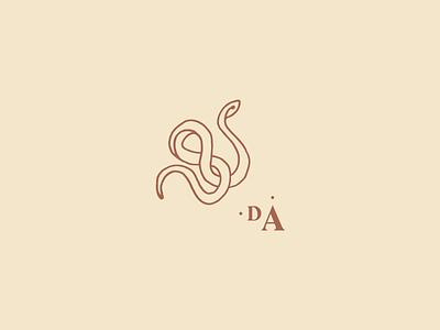 D A alchemy snake illustration monogram identity brand development wip typography branding
