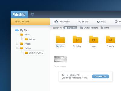 bitFile File Manager UI/UX Design