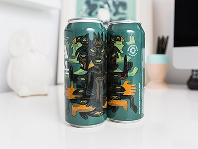 """Cans with the """"Brothers"""" artwork for Collective Arts beercanart beerart collectivearts collectiveartsbrewing cecilwarnerart toyhandscreate"""