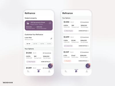 RedDoor Refinance mortgage uidesign mobile ios app ux ui