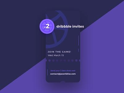Dribbble Invites x2 | NO INVITES LEFT designers design dribbbleinvites invites invitation ui ux mobile app dribbble invite
