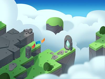 Dodo Peak   Sky Style Frame isometric illustration sky game art concept art