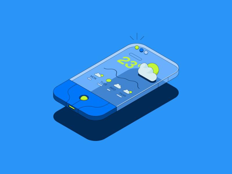 Robinhood // Blue blue weather speaker dice monopoly record player phone learn robinhood isometric illustration