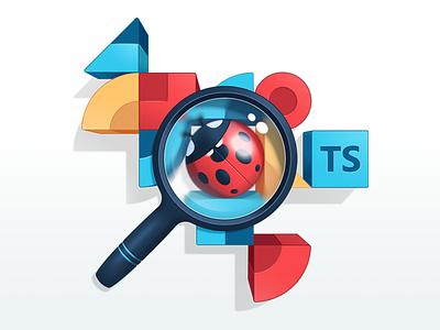 Advanced TypeScript Fundamentals bug gradient blur pattern magnifying glass ladybug code illustration