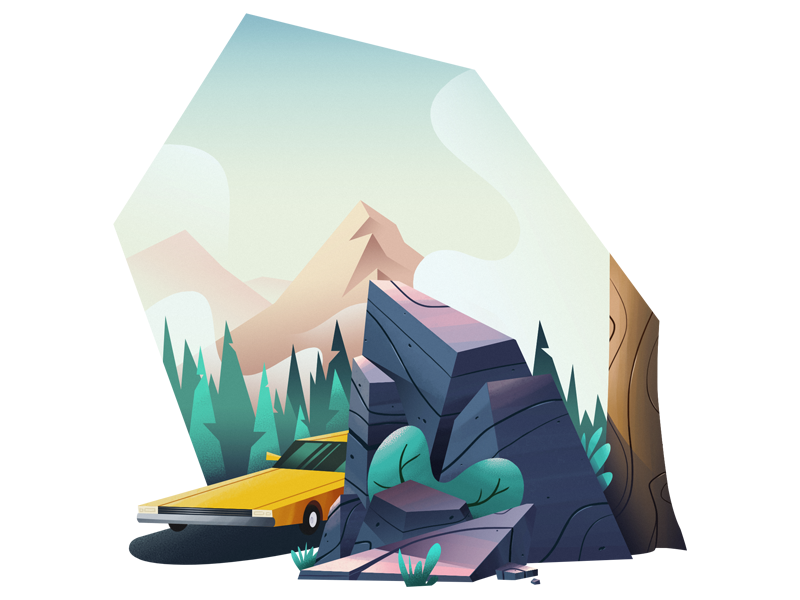 Roadtrip rock yellow car tree forest mountain camping illustration