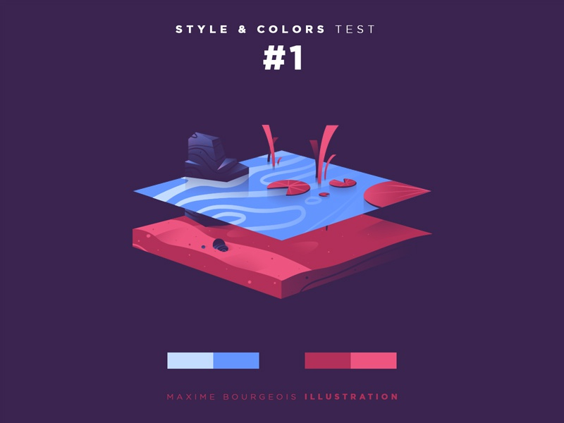 Style & Colors: Lake test training sand lillypad rock water illustration lake