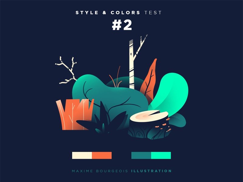 Style & Colors: Flora coolors bark trunk tree leaf plant illustration