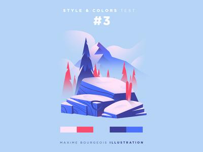 Style & Colors: Peak training practice ski tree rock snow mountain illustration