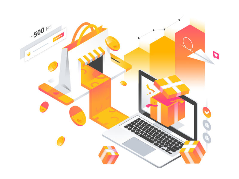 Smile.io Home Page Illustration isometric gradient graph point coin gift airplane laptop phone shop reward