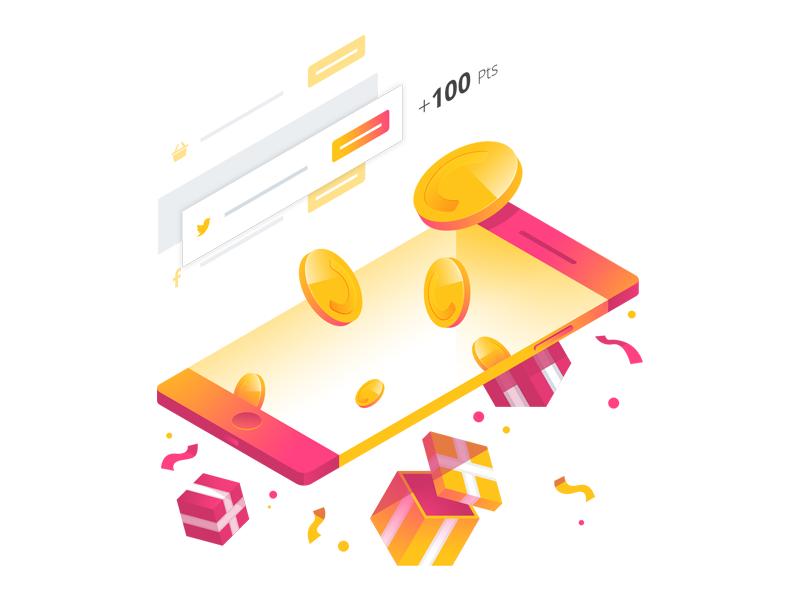 Smile.io Points Illustration gradient isometric ui confetti gift phone coin