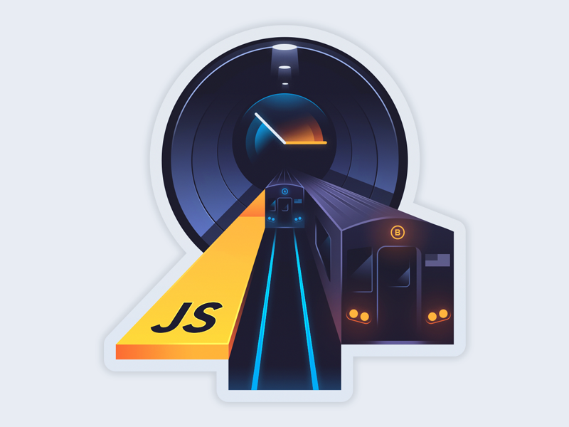 Async Programming: End of the Loop illustration sticker time clock line javascript parallel metro train course code