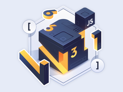JavaScript Arrays in Depth course code illustration isometric javascript number cube slice join reduce