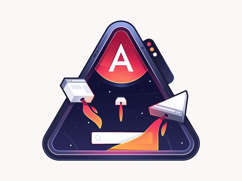 SEO Friendly Progressive Web Applications with Angular Universal illustration badge browser search planet rocket ship space course coding code