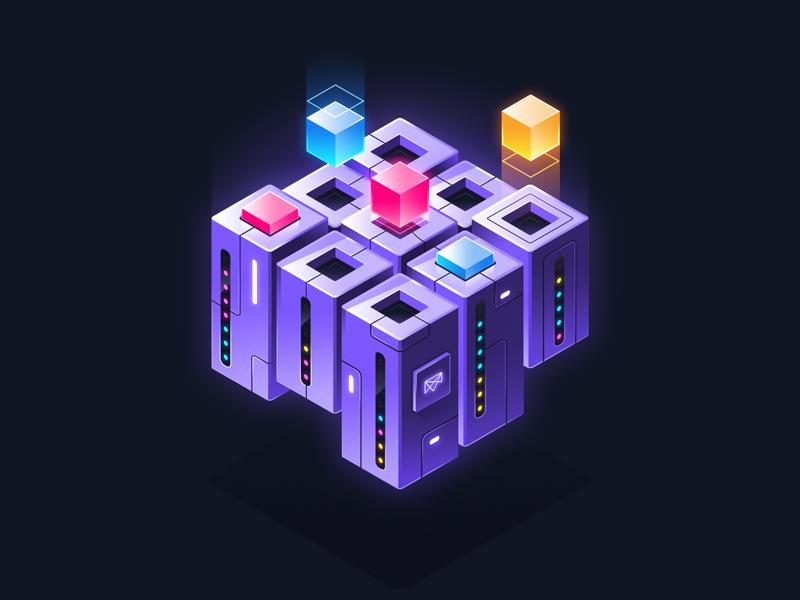 Resource Management cluster server dcos isometric illustration