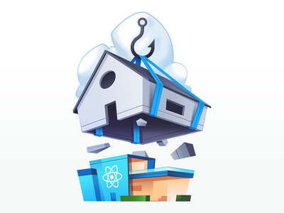 Simplify React Apps with React Hooks code cloud new house hook react course gradient illustration