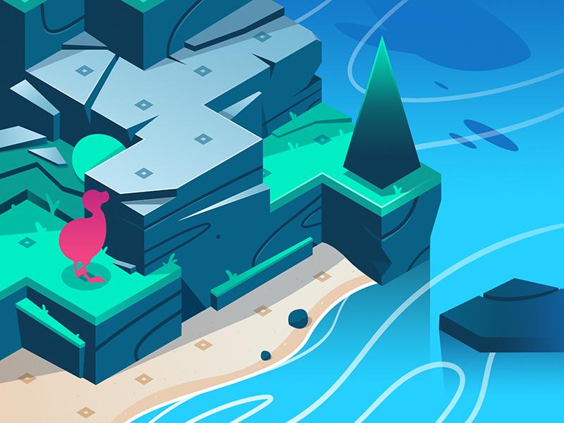 Dodo Peak - Style Frame concept mobile ocean island video game app isometric illustration