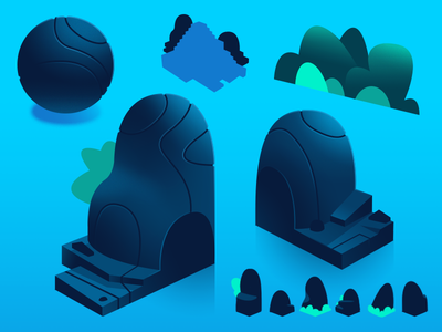 Dodo Peak | Rocks Concept concept reference texture forest rock isometric gradient illustration