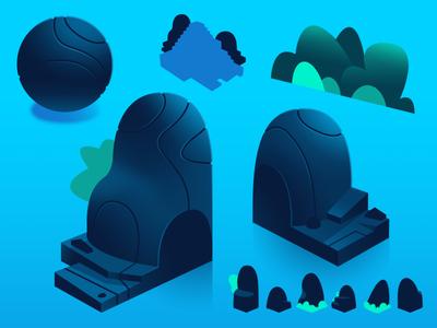 Dodo Peak   Rocks Concept concept reference texture forest rock isometric gradient illustration