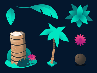 Dodo Peak | Palm Tree cross section concept palm tree coconut leaf flower plant isometric gradient illustration
