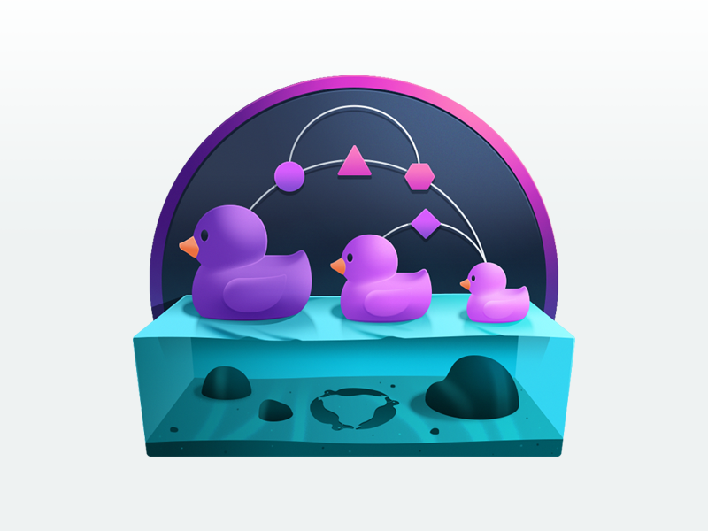 Asynchronous State Management with redux-observable v1 logo redux underwater rubber duck duck water code gradient illustration