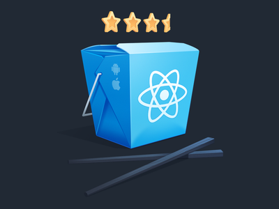 Build a React Native Application for iOS and Android phone react apple android chopstick rating restaurant takeout code gradient illustration