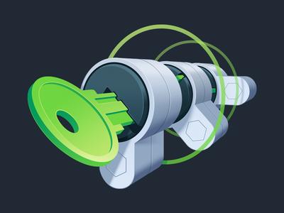 SSH for Remote Server Authentication developement coding code tunnel lock key gradient illustration