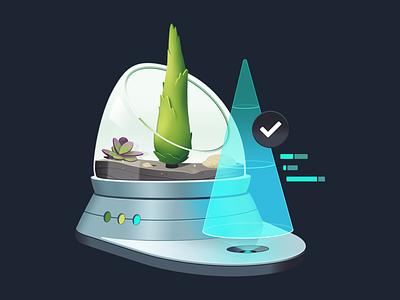 Test Production Ready Apps with Cypress development course code coding graphs hologram terrarium plant rock pine tree gradient illustration